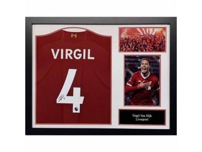 Liverpool trøje - LFC Van Dijk Signed Shirt (Framed)