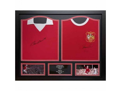 Manchester United trøje - MUFC Charlton & Law Signed Shirts (Dual Framed)