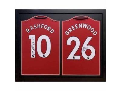 Manchester United trøje - MUFC Rashford & Greenwood Signed Shirts (Dual Framed)
