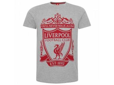 Liverpool t-shirt - LFC Crest T Shirt Mens Grey - L