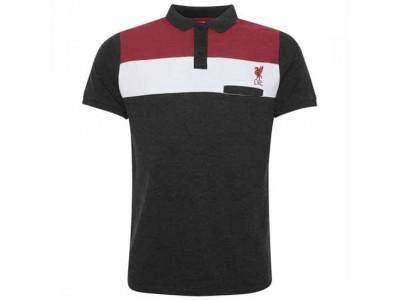 Liverpool polo trøje - LFC Colour Block Polo Mens Charcoal - XXL