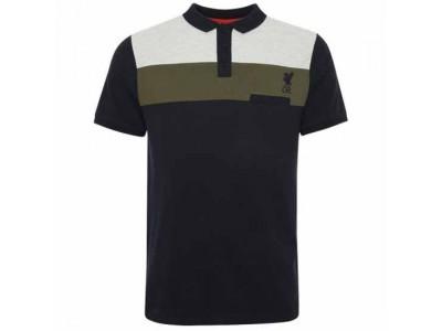 Liverpool polo trøje - LFC Colour Block Polo Mens Navy - S