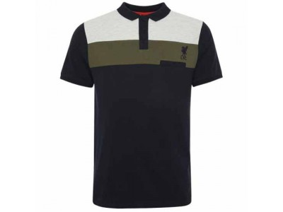 Liverpool polo trøje - LFC Colour Block Polo Mens Navy - XL