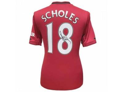 Manchester United trøje autograf - MUFC Scholes Signed Shirt