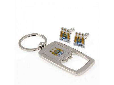 Manchester City manchetknapper - Cufflinks & Keyring Bottle Opener Set