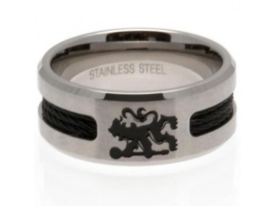 Chelsea FC Black Inlay Ring Small