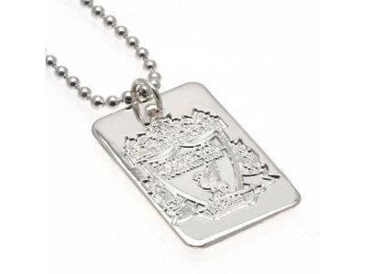 Liverpool FC hundeskilt og kæde - Silver Plated Dog Tag & Chain