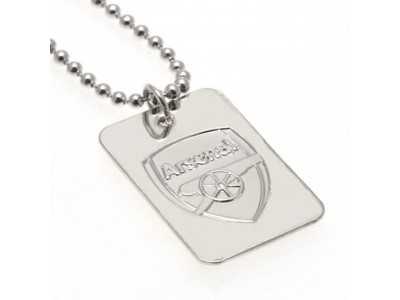 Arsenal kæde og emblem - Silver Plated Dog Tag & Chain