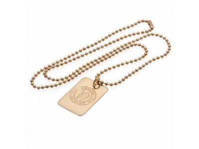 Chelsea hunde skilt og kæde - Gold Plated Dog Tag & Chain