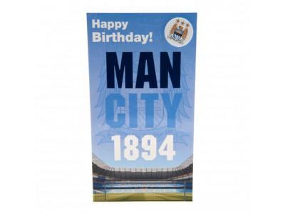 Manchester City fødselsdagskort - Birthday Card & Badge EST