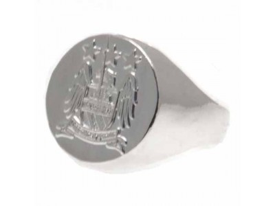 Manchester City FC Silver Plated Crest Ring Small EC
