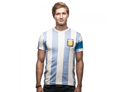 Argentina 1986 Capitano T-Shirt - Hvid og lyseblå