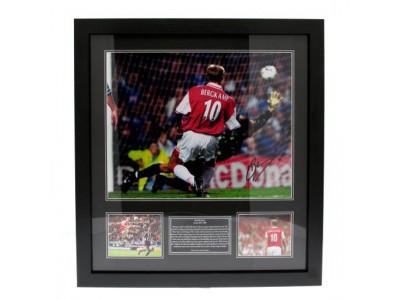 Arsenal trøje med autograf - Bergkamp Signed Framed Print