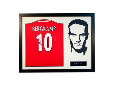 Arsenal trøje med autograf - Bergkamp Signed Shirt Silhouette