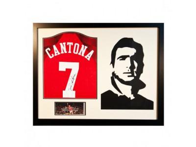 Manchester United trøje med autograf - Cantona Signed Shirt Silhouette