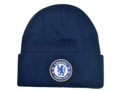 Chelsea strikhue med fold marine blå