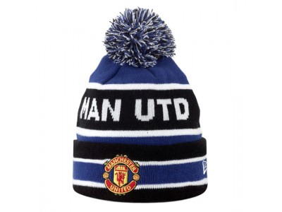 Manchester United Strikhue med kvist - kongeblå