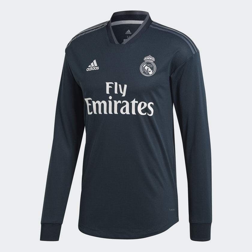 Image of   2018-2019 Real Madrid Adidas Away Long Sleeve Shirt (Kids)-128