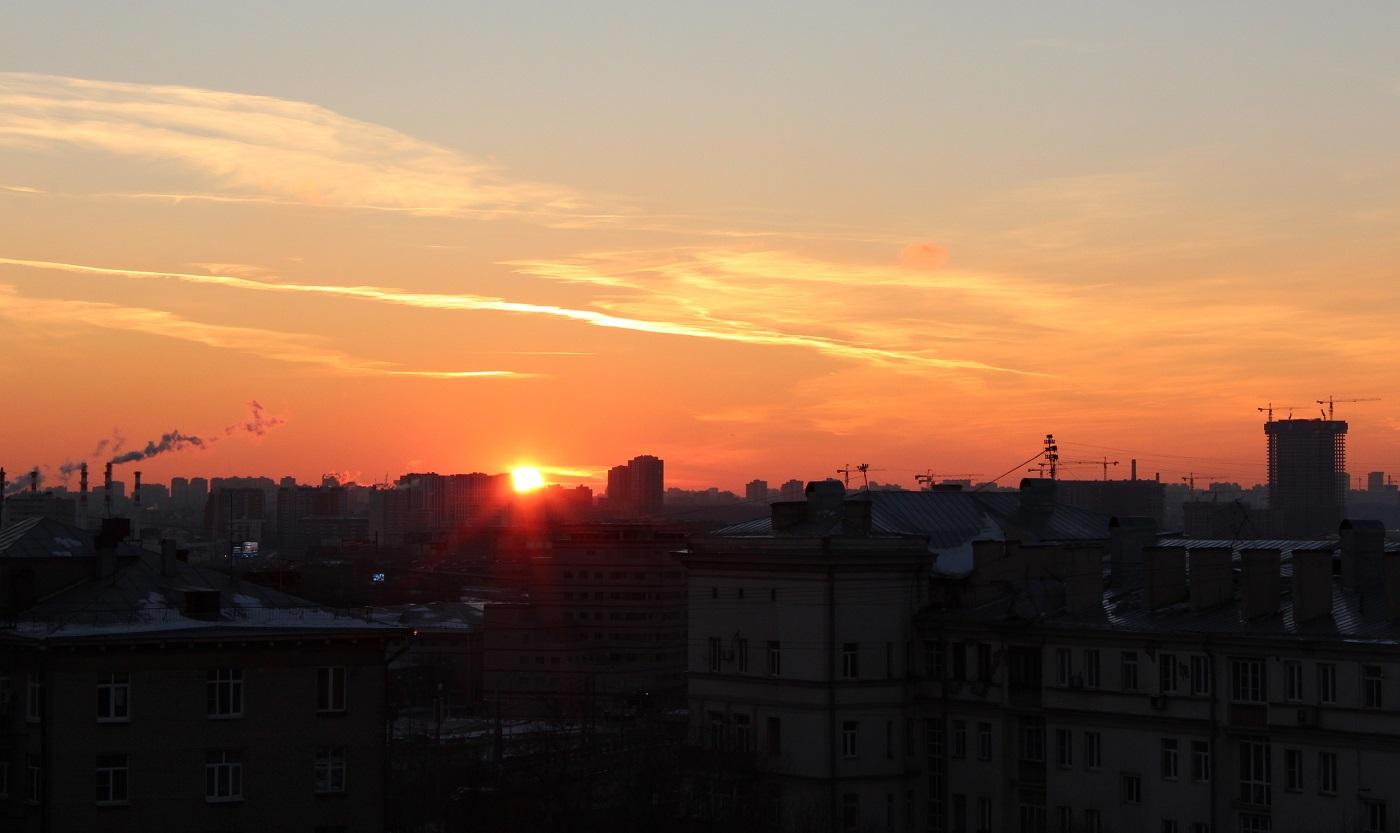 Moskva solnedgang skyline